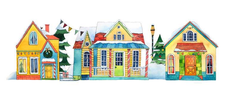 Σπίτια του χωριού πόλεων χειμερινών οδών Watercolor Συρμένη χέρι απεικόνιση watercolor απεικόνιση αποθεμάτων