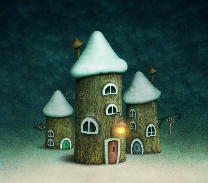σπίτια τρία ελεύθερη απεικόνιση δικαιώματος