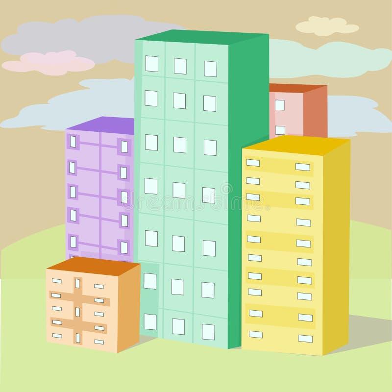 Σπίτια χρώματος διανυσματική απεικόνιση