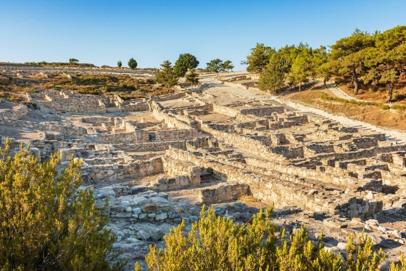 Σπίτια Hellenistic στην αρχαία πόλη του νησιού Kamiros της Ρόδου, στοκ φωτογραφίες