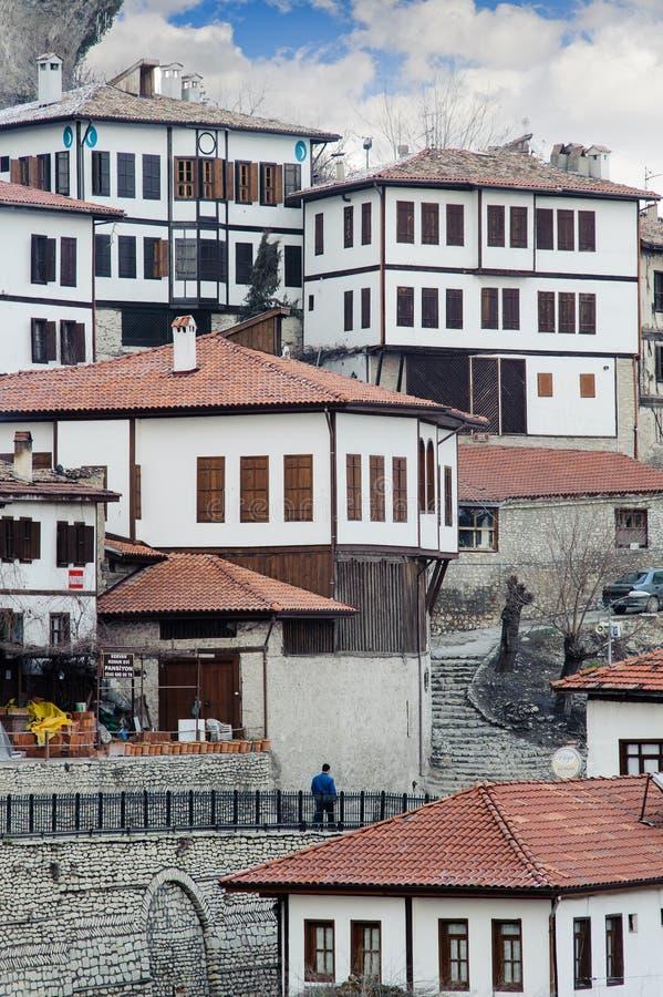 Σπίτια Safranbolu στο χιονώδη χειμώνα Karabuk Τουρκία στοκ φωτογραφίες