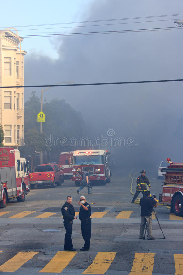 σπίτια SAN Francisco πυρκαγιάς στοκ φωτογραφίες