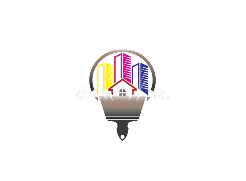 Σπίτι ή σπίτι ζωγραφικής βουρτσών με τα multicolors για το σχέδιο λογότυπων διανυσματική απεικόνιση