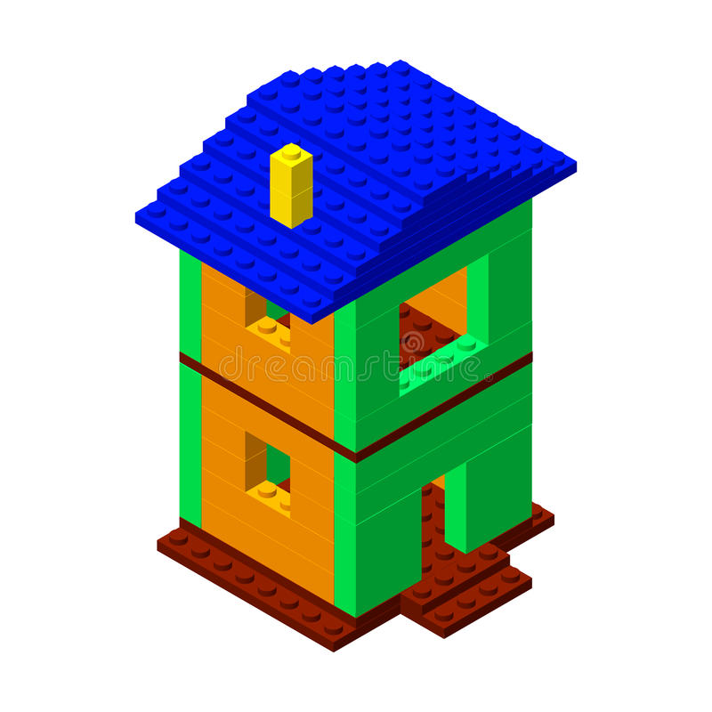 Σπίτι από τα πλαστικά τούβλα κατασκευής τρισδιάστατο isometric ύφος διανυσματική απεικόνιση