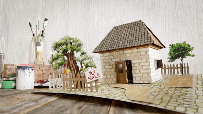 Σπίτι από τη χρωματισμένη φωτογραφία επιχειρησιακής έννοιας πώλησης ακίνητων περιουσιών εγγράφου ελεύθερη απεικόνιση δικαιώματος