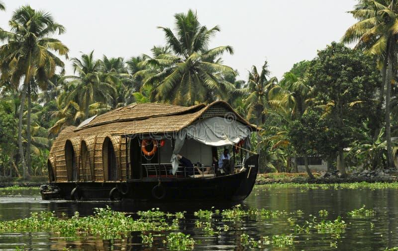 σπίτι βαρκών Ινδία Κεράλα στοκ εικόνα