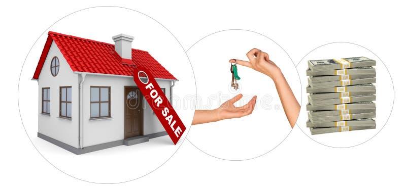 Σπίτι για την πώληση με τα κλειδιά διανυσματική απεικόνιση