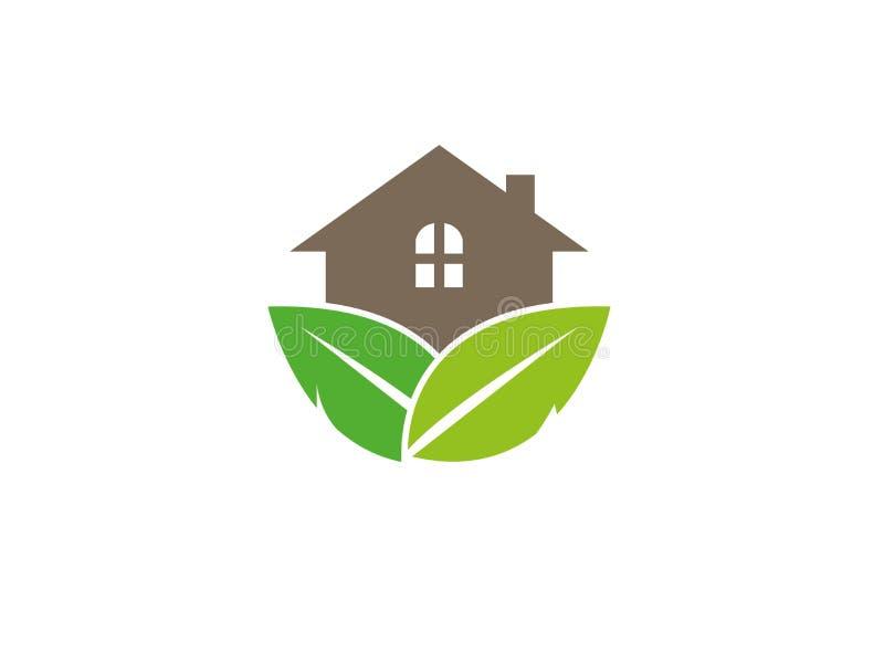 Σπίτι για το δάσος με τα φύλλα και φυτό σπιτιών για το σχέδιο λογότυπων διανυσματική απεικόνιση