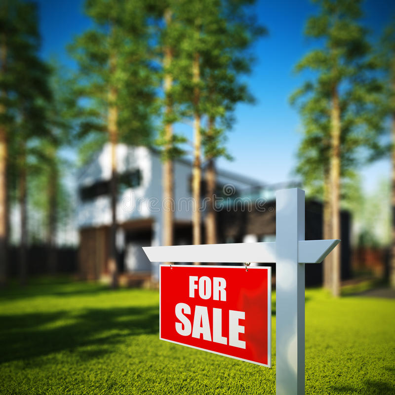 Σπίτι για το σημάδι πώλησης μπροστά από το σύγχρονο σπίτι στοκ φωτογραφίες με δικαίωμα ελεύθερης χρήσης