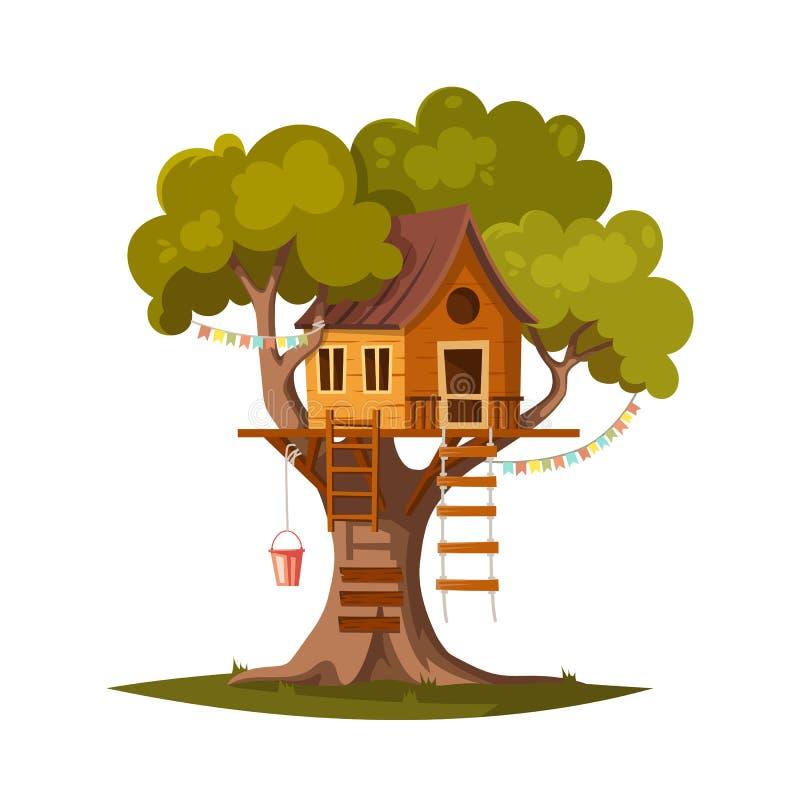 Σπίτι δέντρων για τα παιδιά ελεύθερη απεικόνιση δικαιώματος