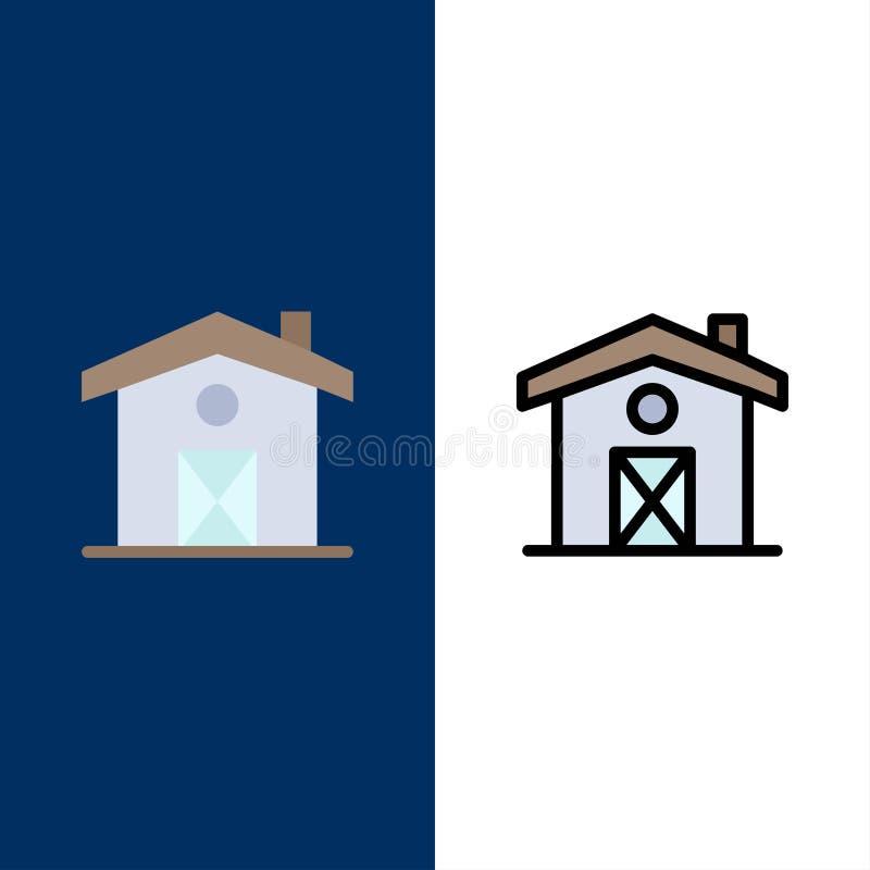 Σπίτι, σπίτι, εικονίδια του Καναδά Επίπεδος και γραμμή γέμισε το καθορισμένο διανυσματικό μπλε υπόβαθρο εικονιδίων διανυσματική απεικόνιση