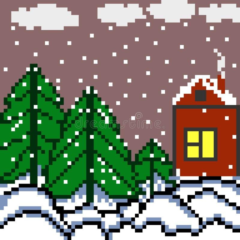 Σπίτι εικονοκυττάρων και η δασική απεικόνιση χειμερινών τοπίων διανυσματική απεικόνιση