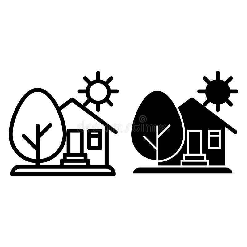 Σπίτι επαρχίας, ήλιος και γραμμή και glyph εικονίδιο δέντρων Σπίτι τη διανυσματική απεικόνιση δέντρων και ήλιων που απομονώνεται  απεικόνιση αποθεμάτων