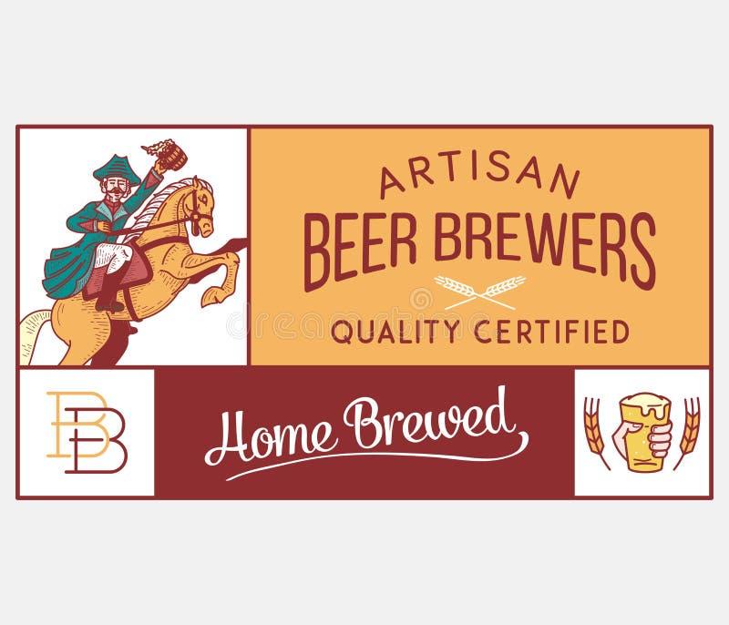 Σπίτι ζυθοποιών μπύρας χειροτεχνικό διανυσματική απεικόνιση