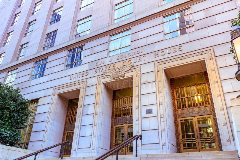 Σπίτι Ηνωμένου δικαστηρίου, το οποίο ένα ομοσπονδιακό δικαστήριο εντόπισε μέσα στοκ εικόνα με δικαίωμα ελεύθερης χρήσης