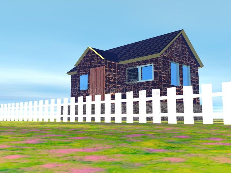 Σπίτι και άσπρη φραγή στύλων απεικόνιση αποθεμάτων