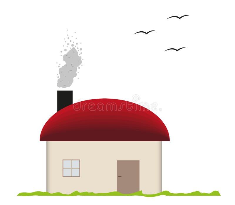 Σπίτι και καπνίζοντας καπνοδόχος ελεύθερη απεικόνιση δικαιώματος