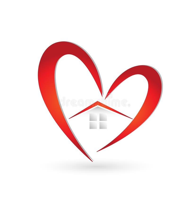 Σπίτι και καρδιά swoosh ελεύθερη απεικόνιση δικαιώματος