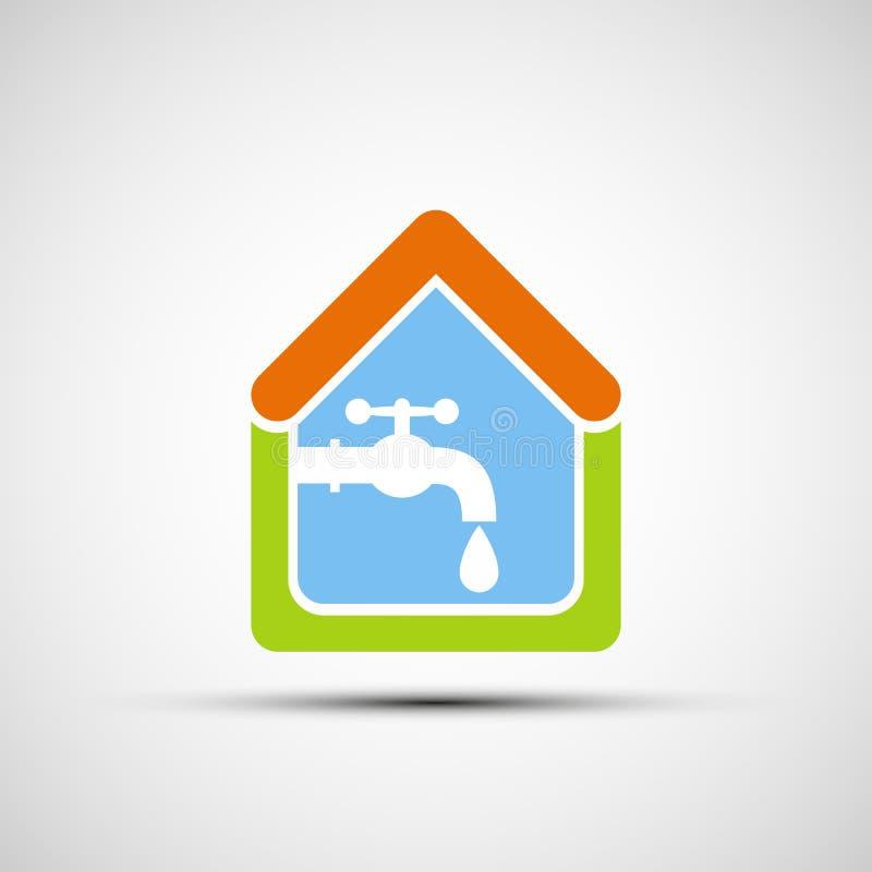 Σπίτι και νερό βρύσης λογότυπων ελεύθερη απεικόνιση δικαιώματος