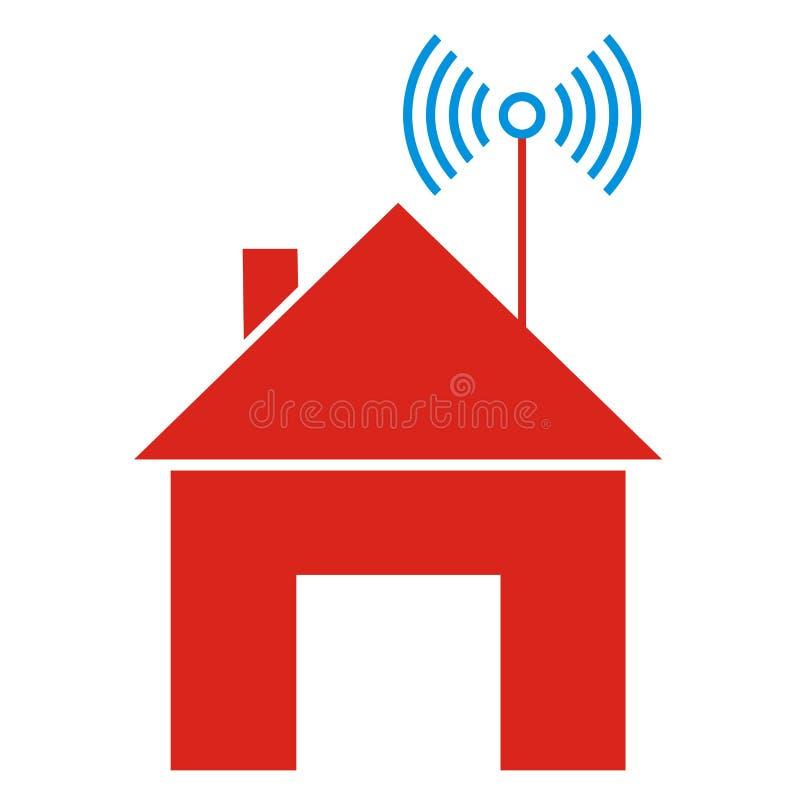 Σπίτι και ραδιο σήμα, διανυσματικό εικονίδιο ελεύθερη απεικόνιση δικαιώματος