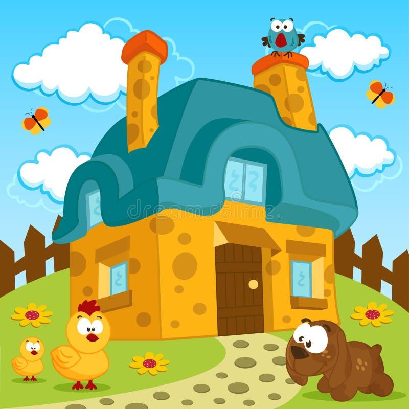 Σπίτι και χαριτωμένα κατοικίδια ζώα ελεύθερη απεικόνιση δικαιώματος