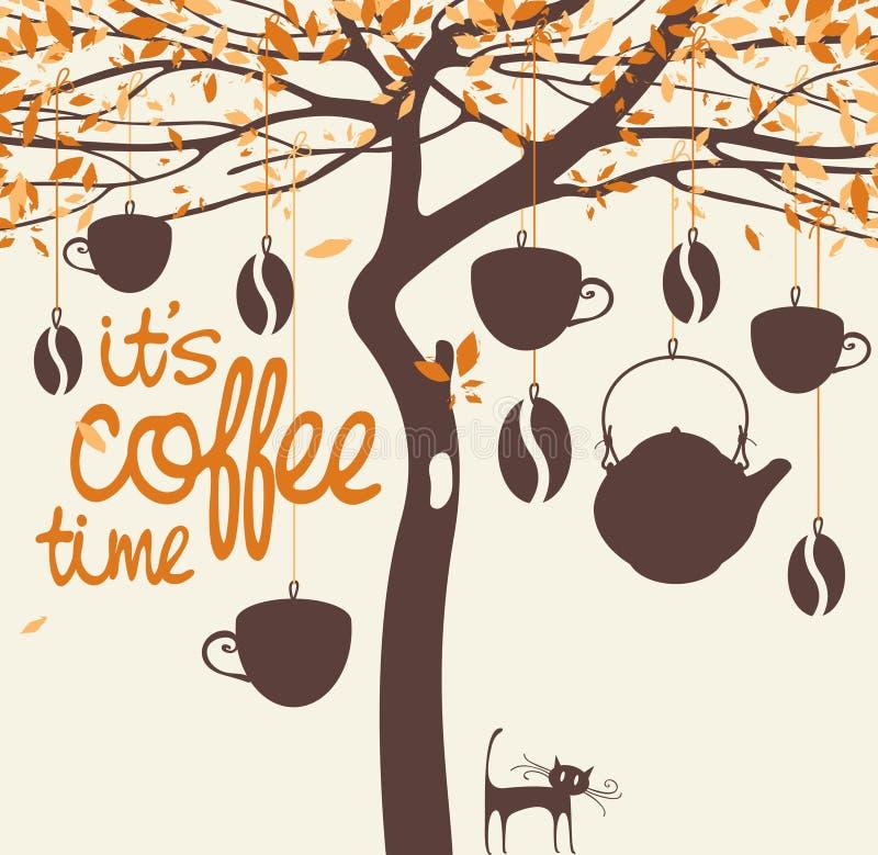 Σπίτι καφέ με ένα δέντρο ελεύθερη απεικόνιση δικαιώματος