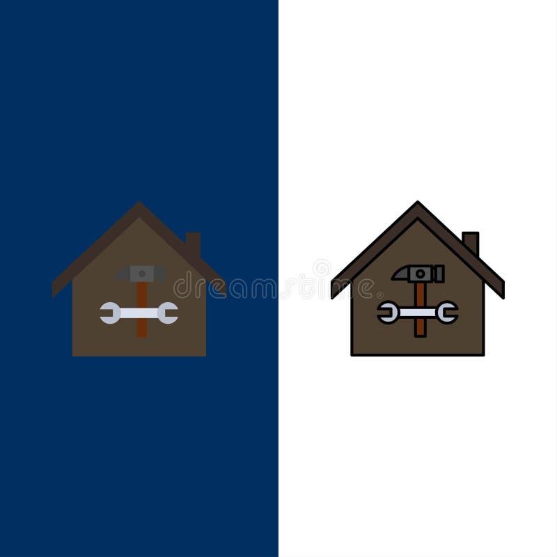 Σπίτι, κτήριο, οικοδόμηση, επισκευή, σφυρί, εικονίδια γαλλικών κλειδιών Επίπεδος και γραμμή γέμισε το καθορισμένο διανυσματικό μπ απεικόνιση αποθεμάτων
