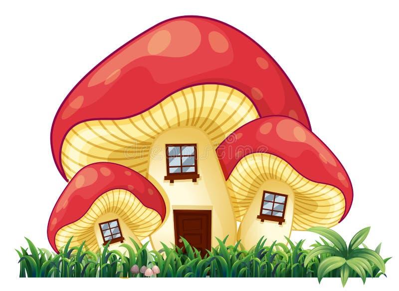 Σπίτι μανιταριών στη χλόη διανυσματική απεικόνιση