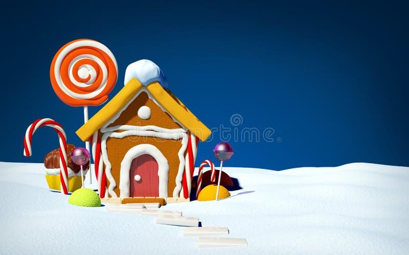 Σπίτι μελοψωμάτων στον τομέα χιονιού διανυσματική απεικόνιση