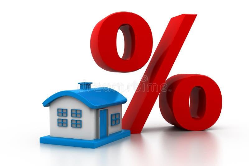 Σπίτι με ένα μεγάλο σύμβολο των τοις εκατό απεικόνιση αποθεμάτων