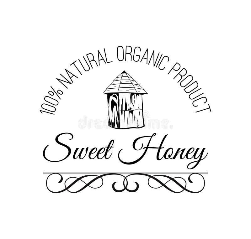 Σπίτι μελισσών s Γλυκιά ετικέτα μελιού, διακριτικό διανυσματική απεικόνιση