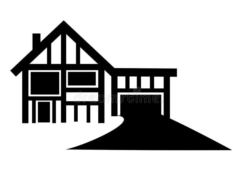 Σπίτι με μεγάλο Driveway ελεύθερη απεικόνιση δικαιώματος