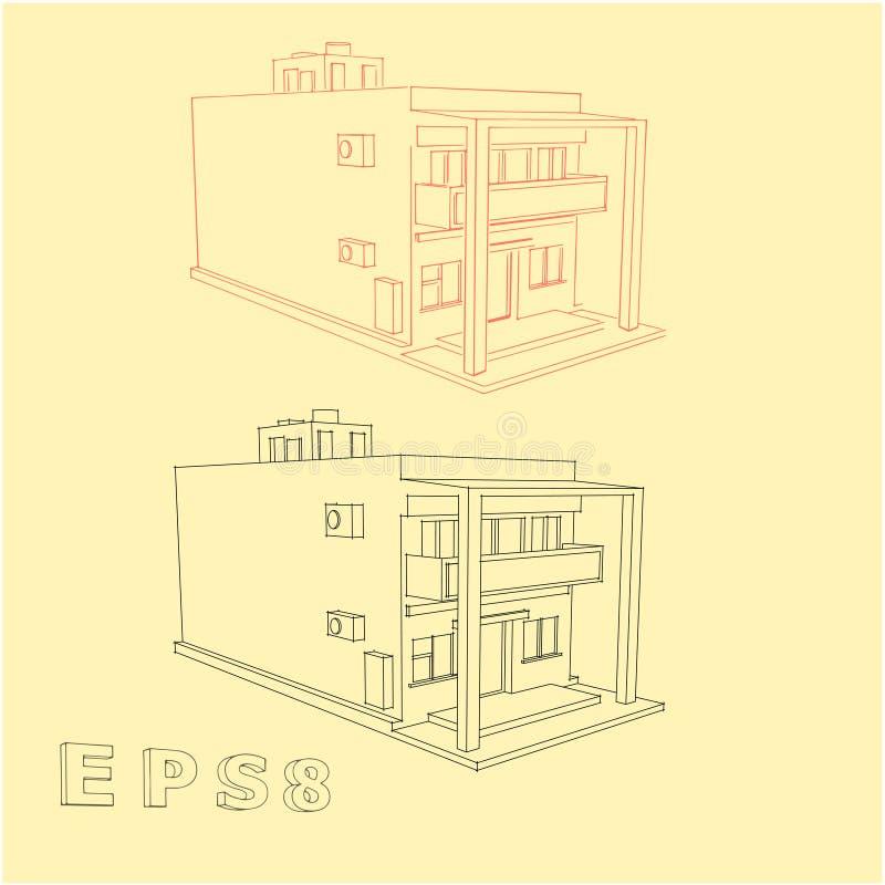 Σπίτι με μορφή ενός ορθογωνίου στοκ φωτογραφίες