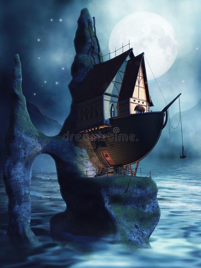 Σπίτι με μορφή ενός σκάφους διανυσματική απεικόνιση
