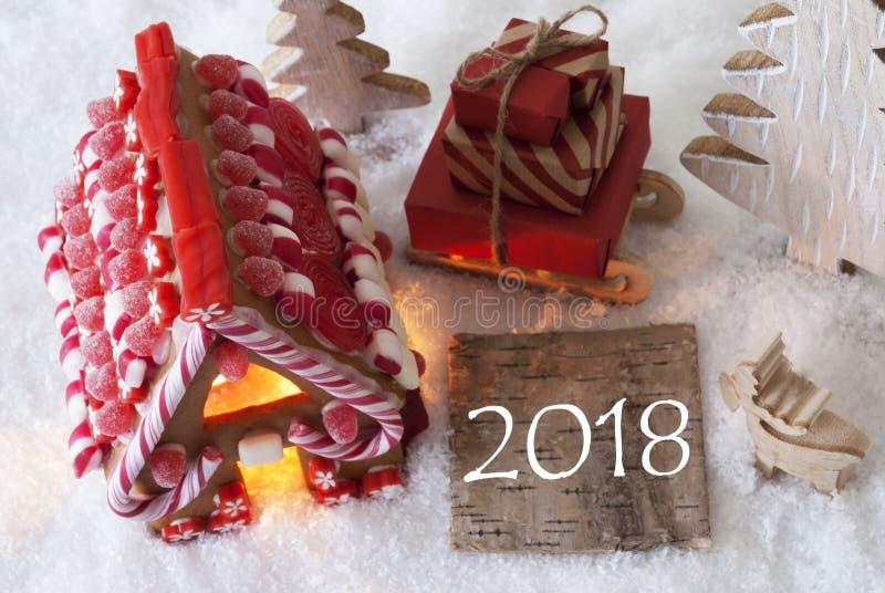 Σπίτι μελοψωμάτων, έλκηθρο, χιόνι, κείμενο 2018 στοκ φωτογραφίες