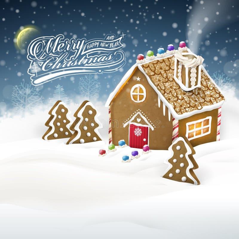 Σπίτι μελοψωμάτων πέρα από τον τομέα χιονιού απεικόνιση αποθεμάτων