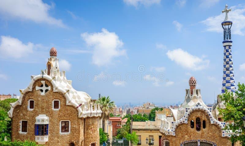 Σπίτι μελοψωμάτων Gaudi στο πάρκο Guell Βαρκελώνη στοκ εικόνες με δικαίωμα ελεύθερης χρήσης