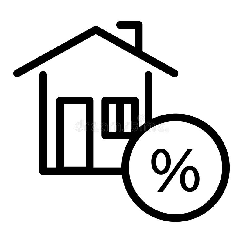 Σπίτι με τα τοις εκατό, εικονίδιο πιστωτικών γραμμών Σπίτι, διανυσματική απεικόνιση υποθηκών που απομονώνεται στο λευκό Ποσοστό γ απεικόνιση αποθεμάτων