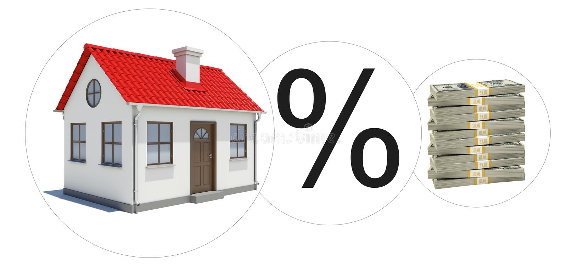 Σπίτι με τα χρήματα και το σημάδι τοις εκατό ελεύθερη απεικόνιση δικαιώματος
