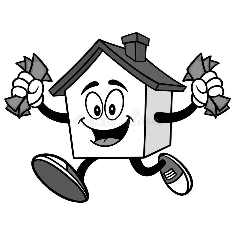 Σπίτι με την απεικόνιση χρημάτων διανυσματική απεικόνιση
