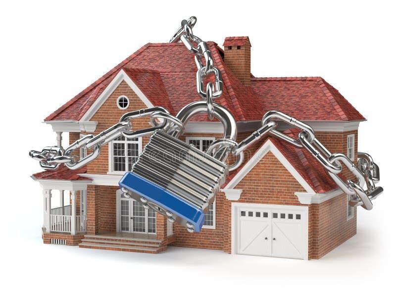 Σπίτι με την αλυσίδα και την κλειδαριά βασική ασφάλεια έννοιας διανυσματική απεικόνιση