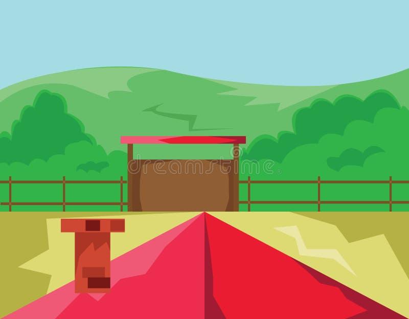 Σπίτι με την κόκκινη άποψη επαρχίας στεγών ελεύθερη απεικόνιση δικαιώματος