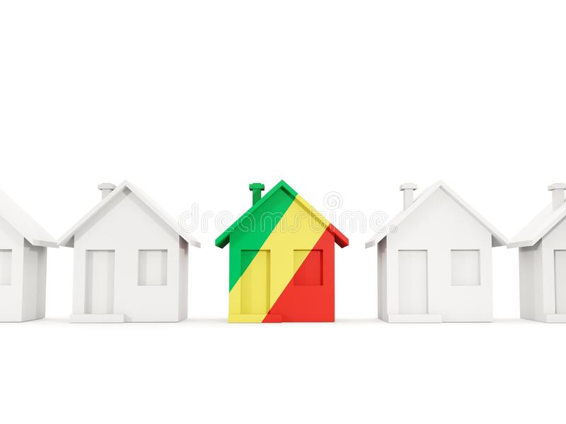 Σπίτι με τη σημαία της δημοκρατίας του Κογκό διανυσματική απεικόνιση