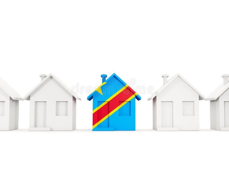 Σπίτι με τη σημαία της λαϊκής δημοκρατίας του Κογκό ελεύθερη απεικόνιση δικαιώματος