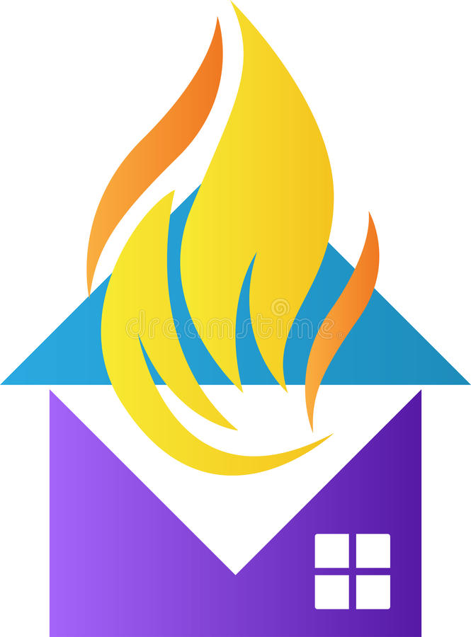 Σπίτι με τις φλόγες πυρκαγιάς ελεύθερη απεικόνιση δικαιώματος
