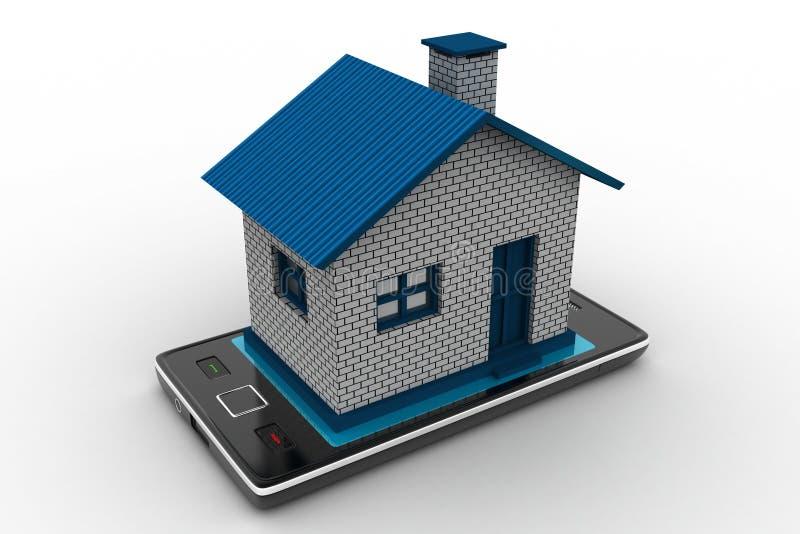 σπίτι με το έξυπνο τηλέφωνο διανυσματική απεικόνιση