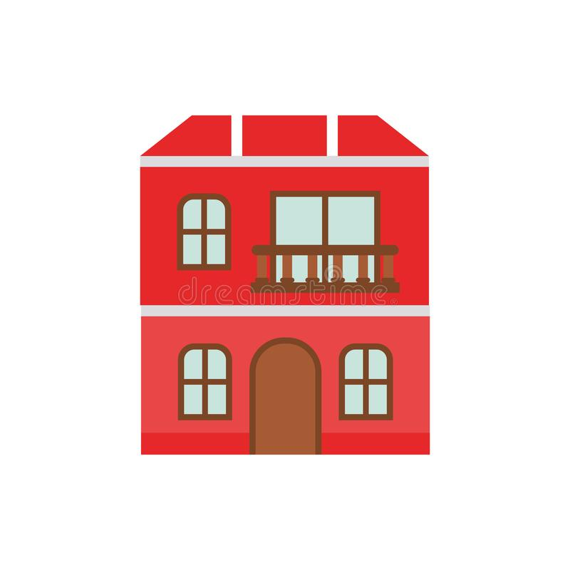Σπίτι με το απομονωμένο εικονίδιο μπροστινής άποψης απεικόνιση αποθεμάτων