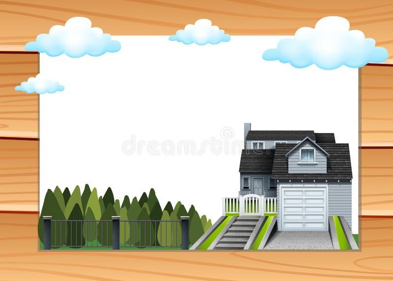 Σπίτι με το γκαράζ και driveway ελεύθερη απεικόνιση δικαιώματος