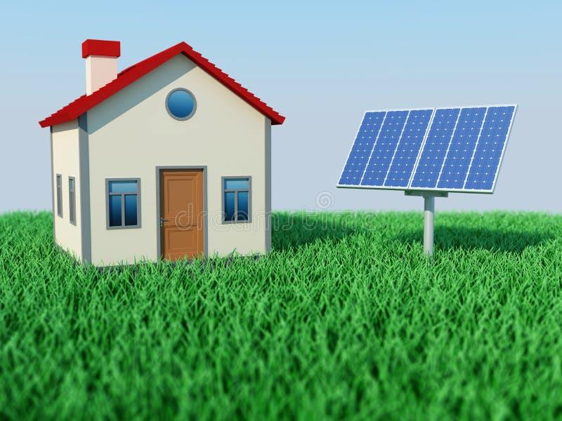 Σπίτι με το ηλιακό πλαίσιο απεικόνιση αποθεμάτων