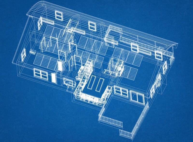 Σπίτι με το σχεδιάγραμμα αρχιτεκτόνων ηλιακών πλαισίων - που απομονώνεται ελεύθερη απεικόνιση δικαιώματος